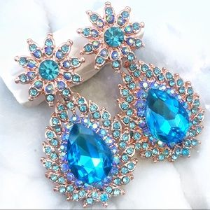 Cherryl's Jewelry - NEW  Aqua Austrian Crystal Occasion Earrings